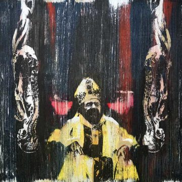 Nick Morris-George Pell Cardinal Innocent 51x51cm Acrylic on canvas. Pop Art.
